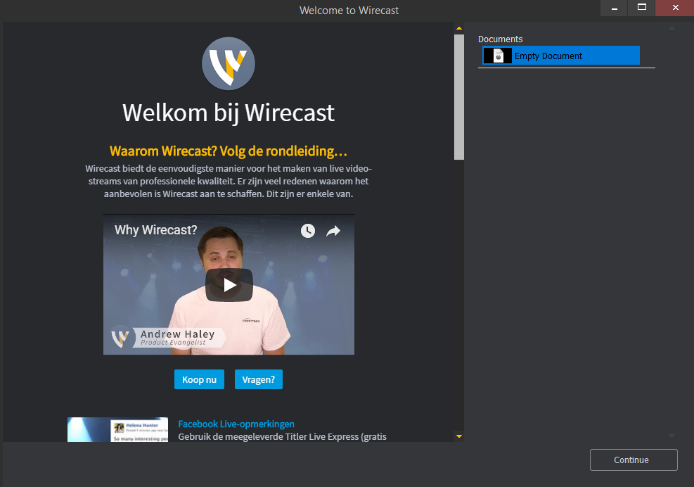 Image of the Wirecast start screen