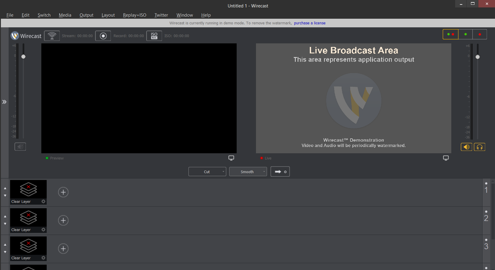 Image of the Wirecast start interface