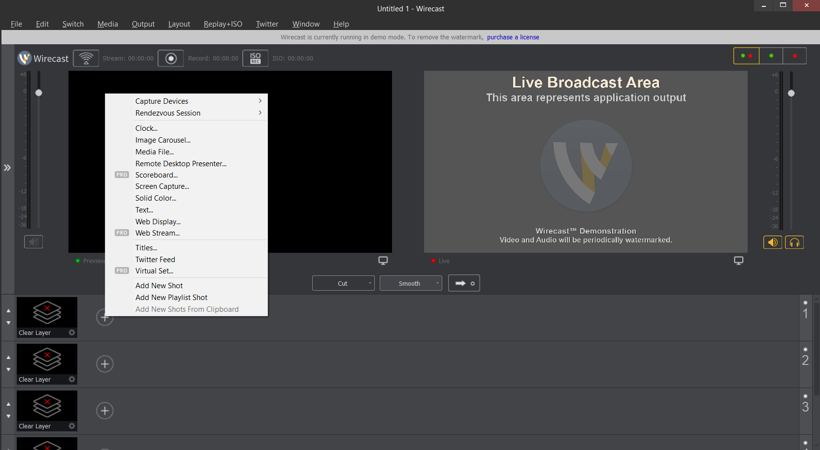 Adding a stream to Wirecast