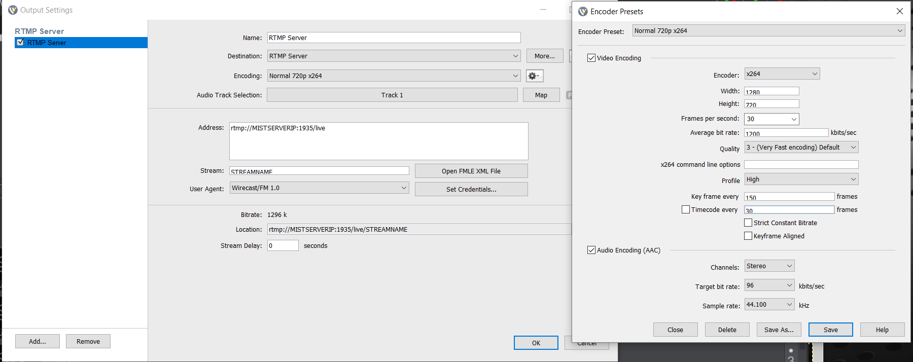 Recommended encoder settings for normal streaming in Wirecast