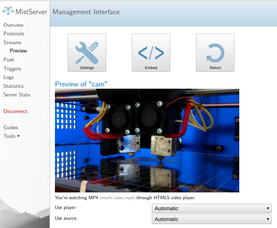 MistServer - Raw H 264 from Raspberry Pi camera to MistServer