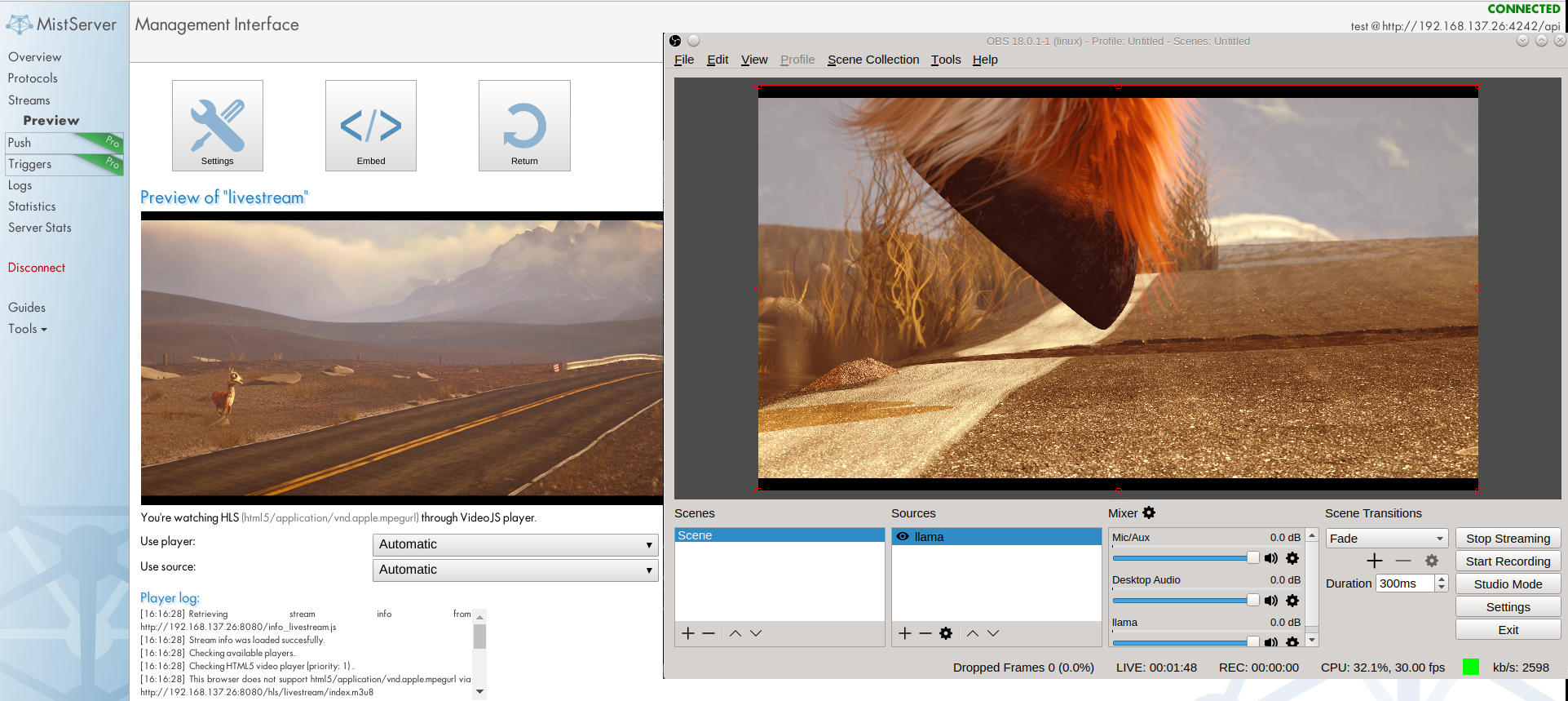 Image of the preview panel within MistServer showing video playback